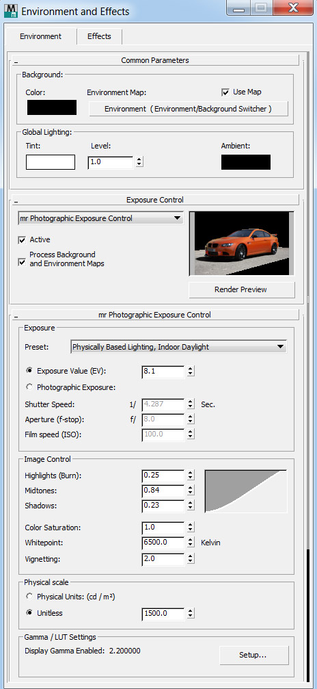 3ds Max Production Shaders Car scene - exposure settings