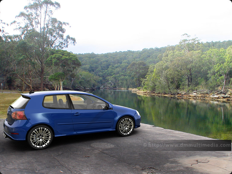 VW Golf R32 in the park