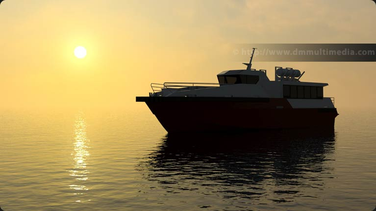 Wavemaster Design Fast Ferry in a setting sun